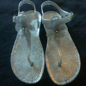 Other - Silver sparkle jelly sandals, size 2 1/2, and used